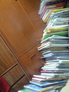 100冊絵本タワー倒壊。